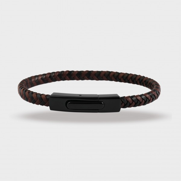 Raptor Armband aus Echt Leder und Edelstahl, 21,5cm