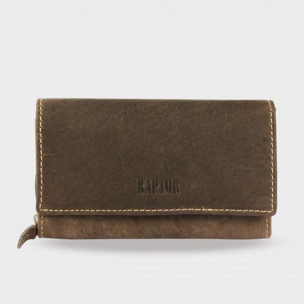 Raptor Damen Geldbörse aus Echtleder. Format 17 x 10 cm.