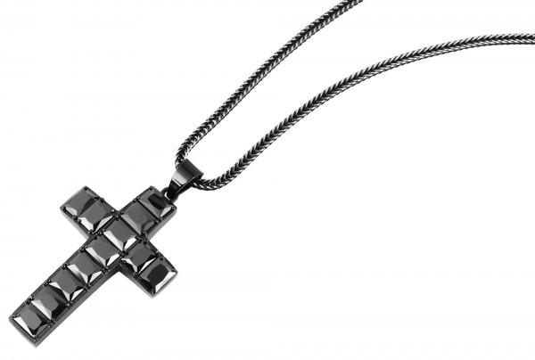 Raptor Edelstahlkette mit Kreuzanhänger, Länge 60 cm