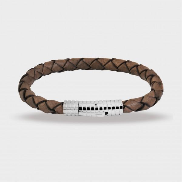 Raptor Armband aus Echt Leder und Edelstahl, 22 cm