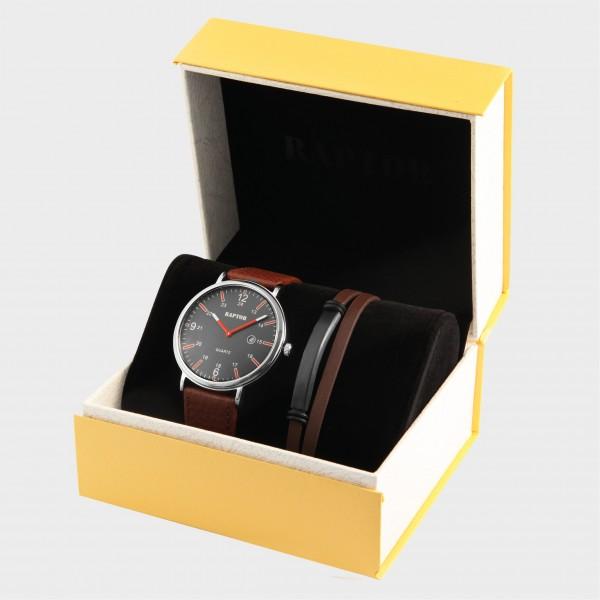 RAPTOR Herrenuhr und Echtleder Armband mit Edelstahlelement in Geschenkverpackung