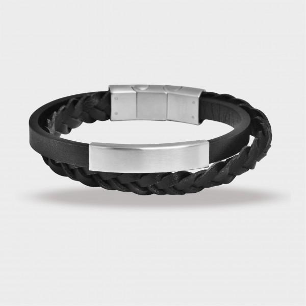 Raptor Armband aus Echtleder und Edelstahl, schwarz, silberfarbig